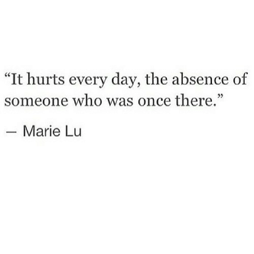 "absence: ""It hurts every day, the absence of  someone who was once there.""  40  - Marie Lu"