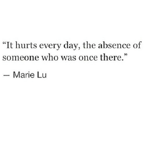 "absence: ""It hurts every day, the absence of  someone who was once there.""  35  Marie Lu"