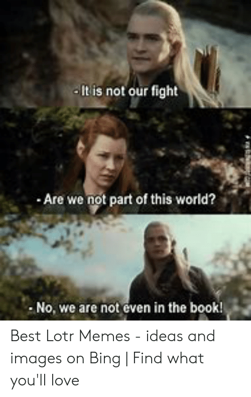 funny lotr: It is not our fight  Are we not part of this world?  No, we are not even in the book! Best Lotr Memes - ideas and images on Bing | Find what you'll love