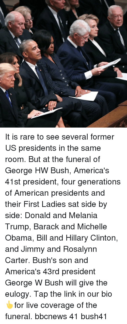 George W. Bush, Hillary Clinton, and Melania Trump: It is rare to see several former US presidents in the same room. But at the funeral of George HW Bush, America's 41st president, four generations of American presidents and their First Ladies sat side by side: Donald and Melania Trump, Barack and Michelle Obama, Bill and Hillary Clinton, and Jimmy and Rosalynn Carter. Bush's son and America's 43rd president George W Bush will give the eulogy. Tap the link in our bio 👆for live coverage of the funeral. bbcnews 41 bush41