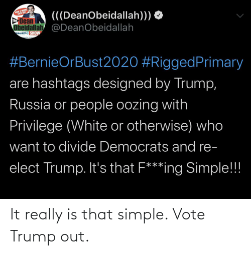 Vote Trump: It really is that simple. Vote Trump out.