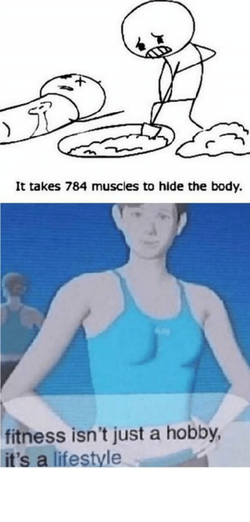 Lifestyle: It takes 784 muscles to hide the body.  fitness isn't just a hobby,  it's a lifestyle This is my daily workout! by petter35 MORE MEMES