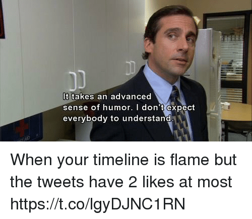 Memes, 🤖, and Flame: It takes an advanced  sense of humor. I don't expect  everybody to understand When your timeline is flame but the tweets have 2 likes at most https://t.co/lgyDJNC1RN