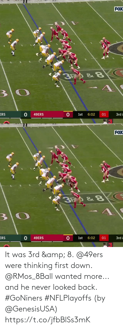 San Francisco 49ers: It was 3rd & 8. @49ers were thinking first down.  @RMos_8Ball wanted more... and he never looked back. #GoNiners #NFLPlayoffs  (by @GenesisUSA) https://t.co/jfbBlSs3mK