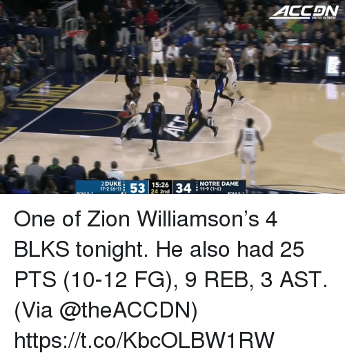 11 9: ITAL NETWORK  2 DUKE  Fou17-2 (6-1)  15:26  24 2nd  34  NOTRE DAME  11-9 (1-6) One of Zion Williamson's 4 BLKS tonight.   He also had 25 PTS (10-12 FG), 9 REB, 3 AST.  (Via @theACCDN)    https://t.co/KbcOLBW1RW