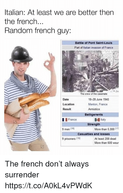 Bailey Jay, Date, and France: Italian: At least we are better then  the french...  Random french guy  Battle of Pont Saint-Louis  Part of Italian invasion of France  The crew of the casemate  Date  Location  Result  18-28 June 1940  Menton, France  Armistice  Belligerents  I France  9 men I1e  9 prisoners 18  Italy  Strength  More than 5,000  Casualties and losses  At least 200 dead  More than 600 wour The french don't always surrender https://t.co/A0kL4vPWdK