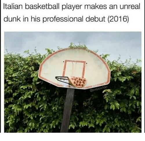 Unrealism: Italian basketball player makes an unreal  dunk in his professional debut (2016)