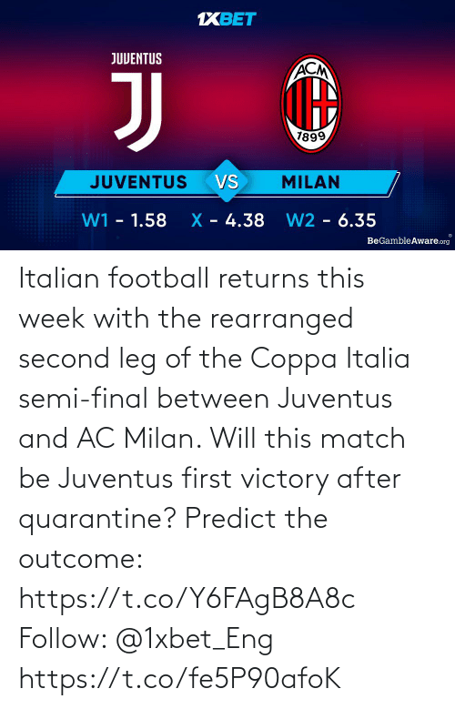 Football: Italian football returns this week with the rearranged second leg of the Coppa Italia semi-final between Juventus and AC Milan. Will this match be Juventus first victory after quarantine?   Predict the outcome: https://t.co/Y6FAgB8A8c Follow: @1xbet_Eng https://t.co/fe5P90afoK