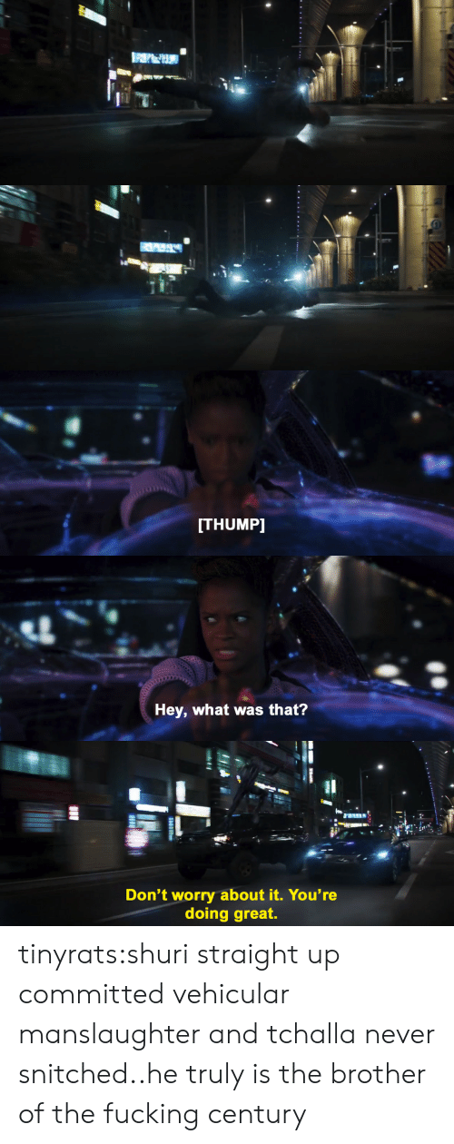 Fucking, Target, and Tumblr: ITHUMP]   Hey, what was that?   th.  Don't worry about it. You're  doing great. tinyrats:shuri straight up committed vehicular manslaughter and tchalla never snitched..he truly is the brother of the fucking century
