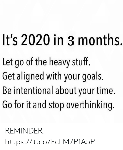 overthinking: It's 2020 in 3 months.  Let go of the heavy stuff.  Get aligned with your goals.  Be intentional about your time.  Go for it and stop overthinking. REMINDER. https://t.co/EcLM7PfA5P