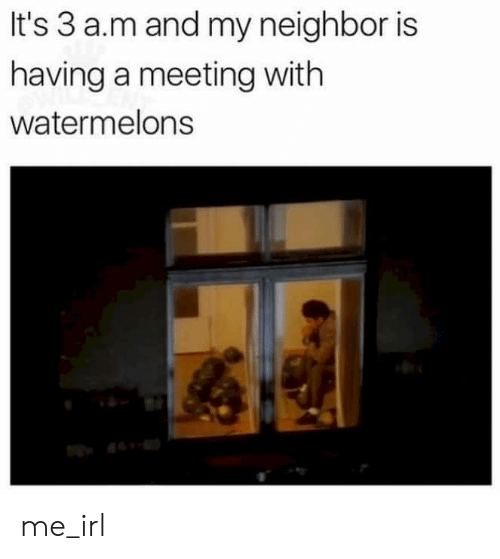 watermelons: It's 3 a.m and my neighbor is  having a meeting with  watermelons me_irl