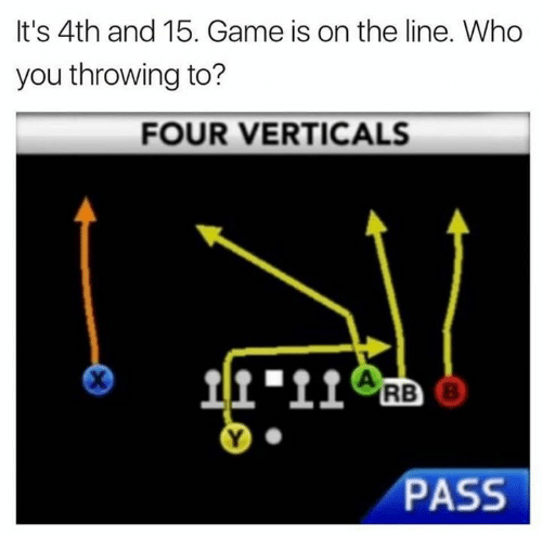 Nfl, Game, and Who: It's 4th and 15. Game is on the line. Who  you throwing to?  FOUR VERTICALS  피오.11  RB  PASS