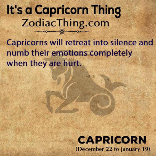 capricorns: It's a Capricorn Thing  ZodiacThing.com  Capricorns will retreat into silence and  numb their emotions completely  when they are hurt.  CAPRICORN  (December 22 to January 19)
