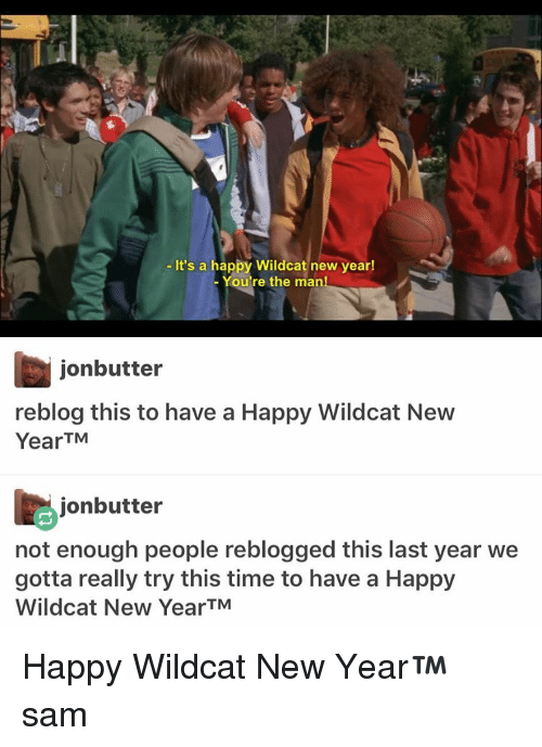 Memes, 🤖, and Sam: It's a happy Wildcat new year!  You're the man  jonbutter  reblog this to have a Happy Wildcat New  Year TM  jonbutter  not enough people reblogged this last year we  gotta really try this time to have a Happy  Wildcat New YearTM Happy Wildcat New Year™ ≪sam≫