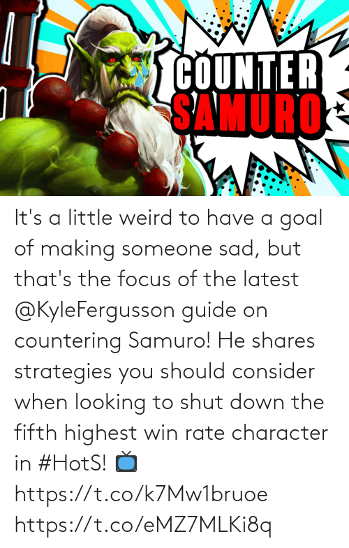 guide: It's a little weird to have a goal of making someone sad, but that's the focus of the latest @KyleFergusson guide on countering Samuro!  He shares strategies you should consider when looking to shut down the fifth highest win rate character in #HotS!  📺https://t.co/k7Mw1bruoe https://t.co/eMZ7MLKi8q