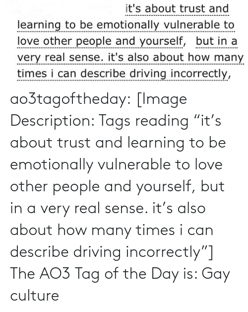 "Learning: it's about trust and  learning to be emotionally vulnerable to  love other people and yourself, but in a  very real sense. it's also about how many  times i can describe driving incorrectly, ao3tagoftheday:  [Image Description: Tags reading ""it's about trust and learning to be emotionally vulnerable to love other people and yourself, but in a very real sense. it's also about how many times i can describe driving incorrectly""]  The AO3 Tag of the Day is: Gay culture"