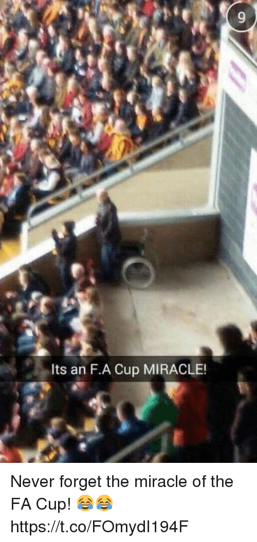 fa cup: Its an F.A Cup MIRACLE! Never forget the miracle of the FA Cup! 😂😂 https://t.co/FOmydI194F