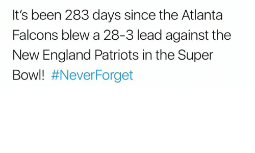 Atlanta Falcons: It's been 283 days since the Atlanta  Falcons blew a 28-3 lead against the  New England Patriots in the Super  Bowl!