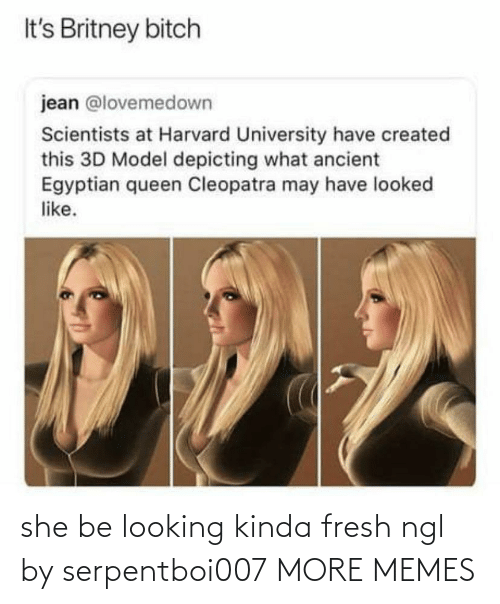 Harvard: It's Britney bitch  jean @lovemedown  Scientists at Harvard University have created  this 3D Model depicting what ancient  Egyptian queen Cleopatra may have looked  like. she be looking kinda fresh ngl by serpentboi007 MORE MEMES