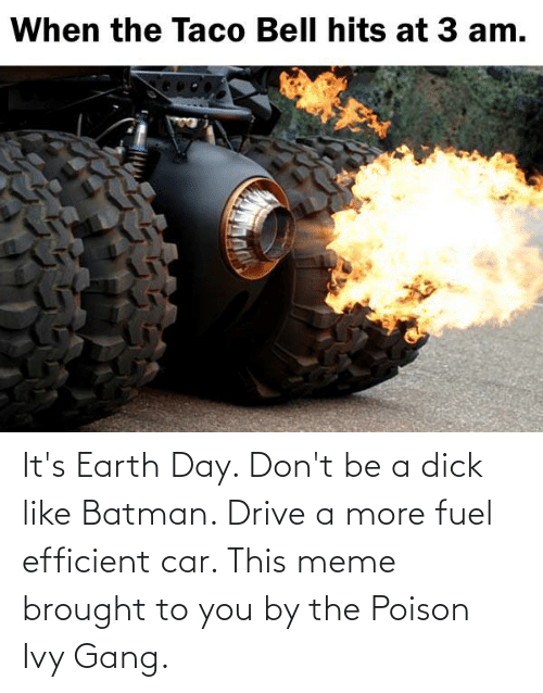 poison: It's Earth Day. Don't be a dick like Batman. Drive a more fuel efficient car. This meme brought to you by the Poison Ivy Gang.