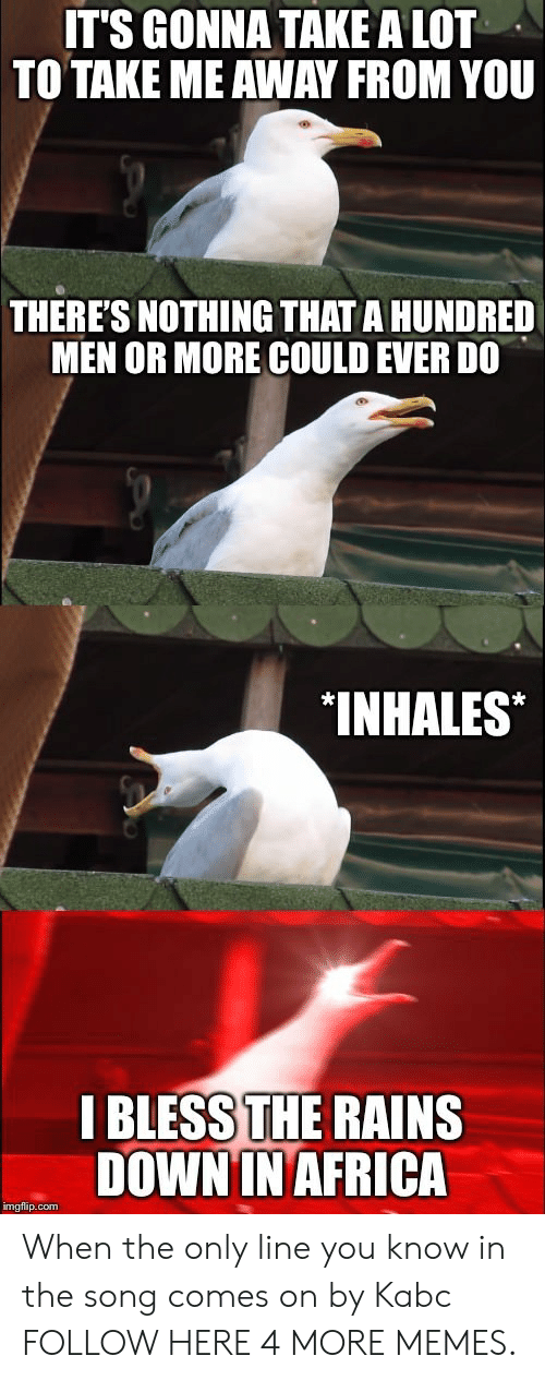Inhales: IT'S GONNA TAKE A LOT  TO TAKE ME AWAY FROM YOU  THERE'S NOTHING THAT A HUNDRED  MEN OR MORE COULD EVER DO  INHALES*  I BLESS THE RAINS  DOWNIN AFRICA  imgflip.com When the only line you know in the song comes on by Kabc FOLLOW HERE 4 MORE MEMES.