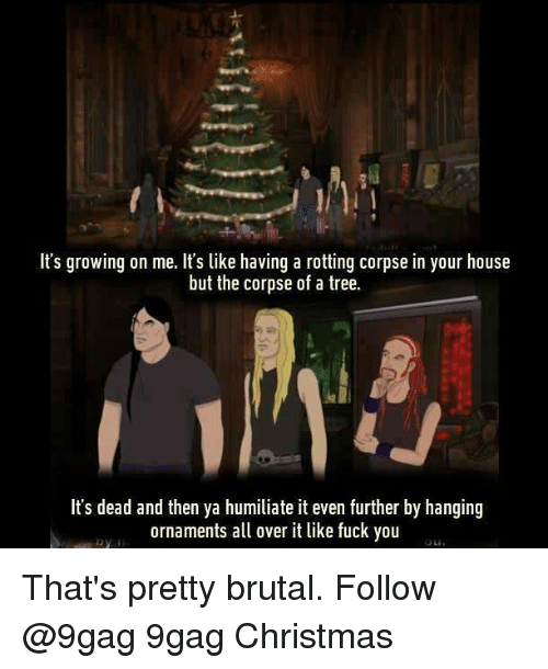 Pretty Brutal: It's growing on me. It's like having a rotting corpse in your house  but the corpse of a tree.  It's dead and then ya humiliate it even further by hanging  ornaments a over it like fuck you That's pretty brutal. Follow @9gag 9gag Christmas