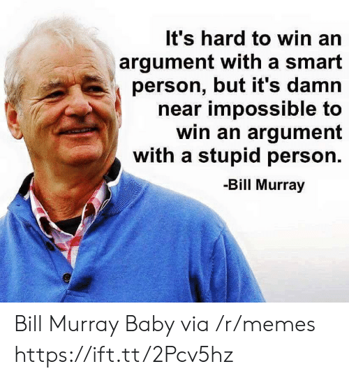 Bill Murray: It's hard to win an  argument with a smart  person, but it's damn  near impossible to  win an argument  with a stupid person.  -Bill Murray Bill Murray Baby via /r/memes https://ift.tt/2Pcv5hz