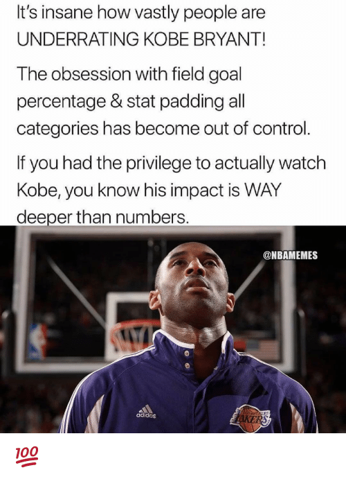 Adidas, Kobe Bryant, and Nba: It's insane how vastly people are  UNDERRATING KOBE BRYANT!  The obsession with field goal  percentage & stat padding all  categories has become out of control.  If you had the privilege to actually watch  Kobe, you know his impact is WAY  deeper than numbers.  @NBAMEMES  adidas  ELES 💯