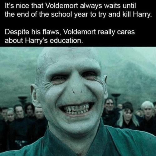 School, Nice, and Voldemort: It's nice that Voldemort always waits until  the end of the school year to try and kill Harry.  Despite his flaws, Voldemort really cares  about Harry's education.