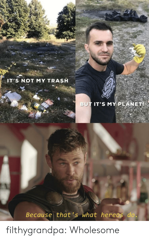 Trash, Tumblr, and Blog: IT'S NOT MY TRASH  BUT IT'S MY PLANET!  Because that's what hereos do. filthygrandpa:  Wholesome