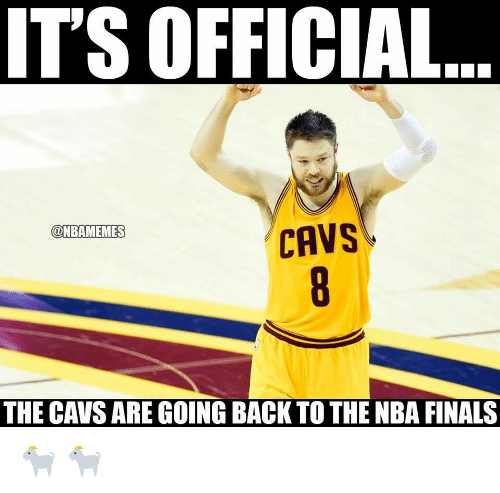 Cavs, Finals, and Nba: IT'S OFFICIAL  @NBAMEMES  CAVS  THE CAVS ARE GOING BACK TO THE NBA FINALS 🐐 🐐
