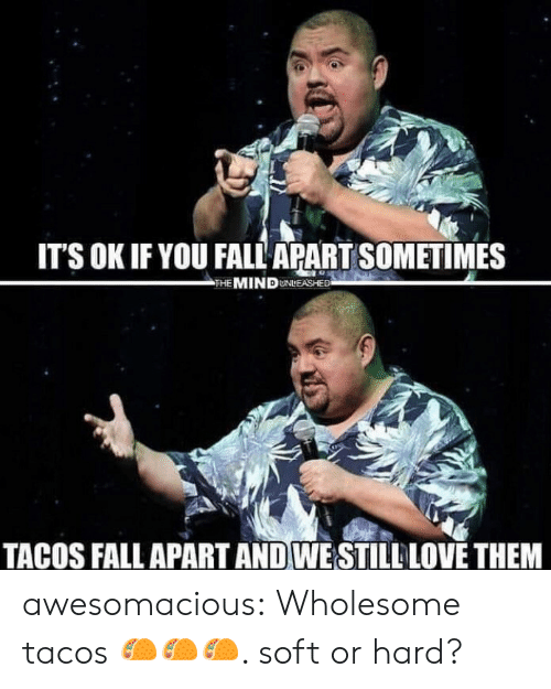 Fall, Love, and Tumblr: IT'S OK IF YOU FALL APART SOMETIMES  THE MIND UNLEASHED  TACOS FALL APART AND WE STILL LOVE THEM awesomacious:  Wholesome tacos 🌮🌮🌮. soft or hard?