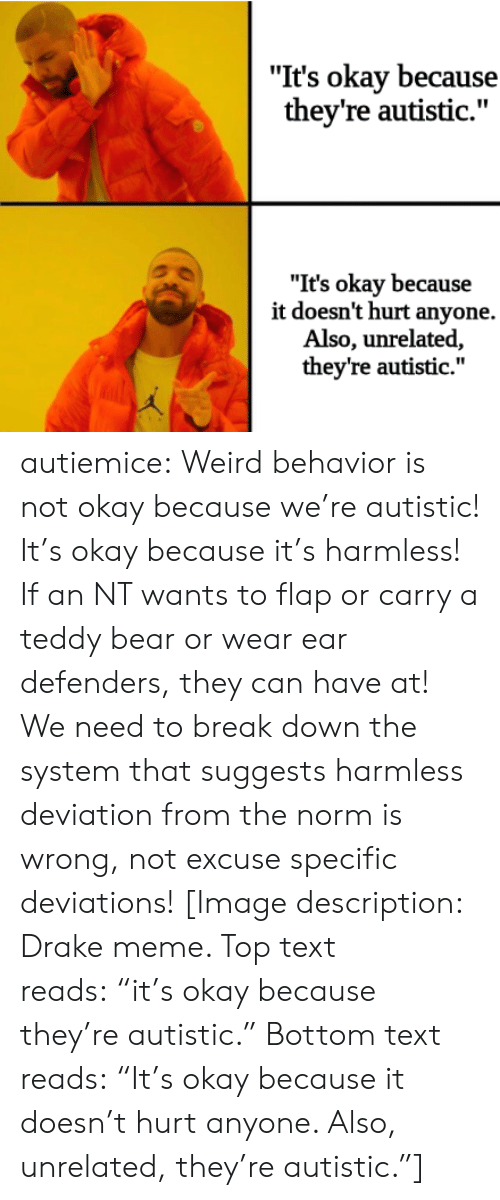 "Drake, Meme, and Target: ""It's okay because  they're autistic.""  ""It's okay because  it doesn't hurt anyone.  Also, unrelated,  they're autistic."" autiemice: Weird behavior is not okay because we're autistic! It's okay because it's harmless! If an NT wants to flap or carry a teddy bear or wear ear defenders, they can have at! We need to break down the system that suggests harmless deviation from the norm is wrong, not excuse specific deviations! [Image description: Drake meme. Top text reads: ""it's okay because they're autistic."" Bottom text reads: ""It's okay because it doesn't hurt anyone. Also, unrelated, they're autistic.""]"