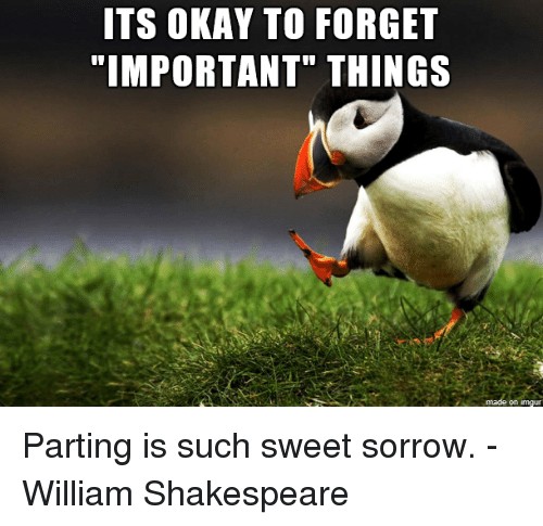 Shakespeare, Imgur, and Okay: ITS OKAY TO FORGET  on imgur Parting is such sweet sorrow. -William Shakespeare