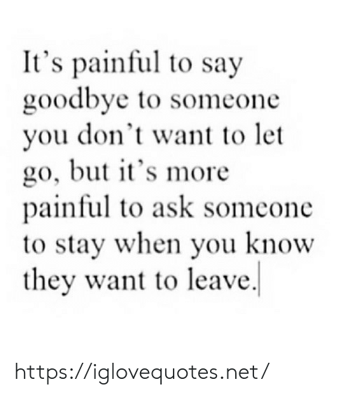 Ask, Net, and They: It's painful to say  goodbye to someone  you don't want to let  go, but it's more  painful to ask someone  to stay when you know  they want to leave https://iglovequotes.net/