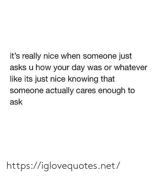 Cares: it's really nice when someone just  asks u how your day was or whatever  like its just nice knowing that  someone actually cares enough to  ask https://iglovequotes.net/