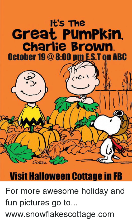 the great pumpkin charlie brown: It's The  Great PumPkin,  Charlie Brown  October 19 8:00 p  ST on ABC  Visit Halloween Cottage in FB For more awesome holiday and fun pictures go to... www.snowflakescottage.com