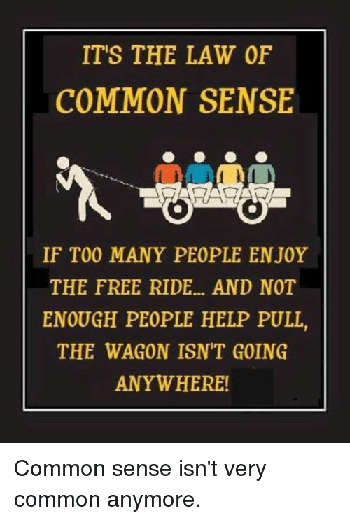 Memes, Common, and Free: IT'S THE LAW OF  COMMON SENSE  IF TOO MANY PEOPLE ENJOY  THE FREE RIDE... AND NOT  ENOUGH PEOPLE HELP PULL,  THE WAGON ISNT GOING  ANYWHERE! Common sense isn't very common anymore.