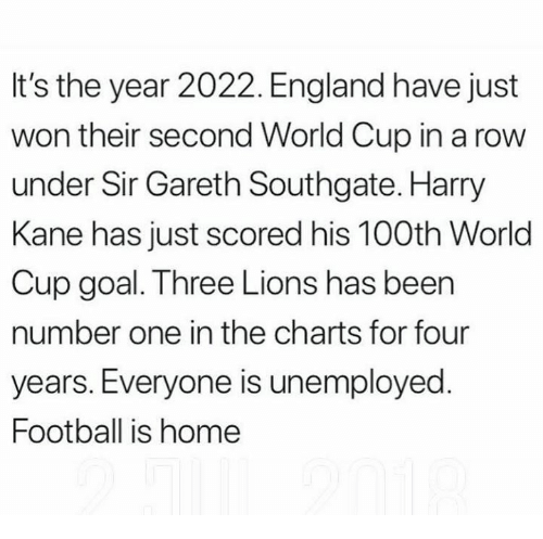 England, Football, and Memes: It's the year 2022. England have just  won their second World Cup in a row  under Sir Gareth Southgate. Harry  Kane has just scored his 100th World  Cup goal. Three Lions has been  number one in the charts for four  years. Everyone is unemployed  Football is home