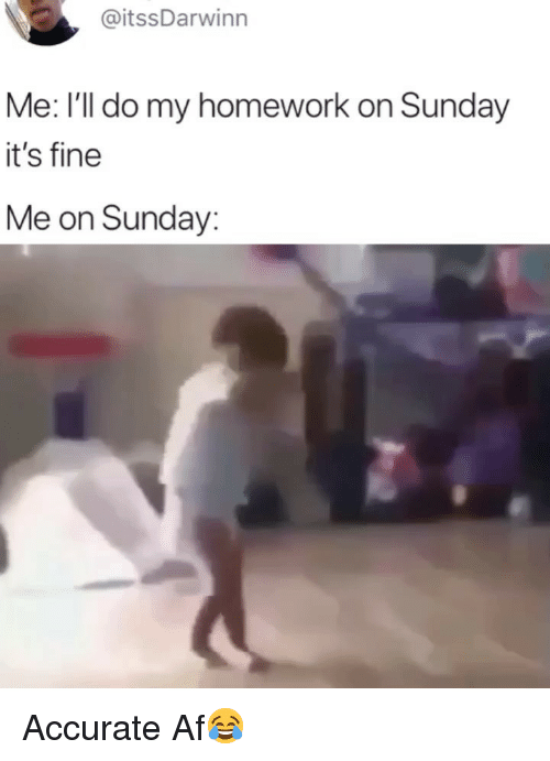 Af, Memes, and Homework: @itssDarwinn  Me: I'll do my homework on Sunday  it's fine  Me on Sunday: Accurate Af😂
