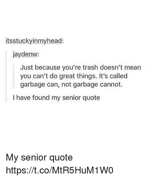 seniority: itsstuckyinmyheac:  jaydenw:  Just because you're trash doesn't mean  you can't do great things. It's called  garbage can, not garbage cannot.  I have found my senior quote My senior quote https://t.co/MtR5HuM1W0