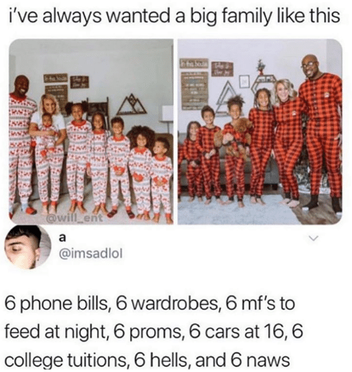 Cars, College, and Family: i've always wanted a big family like this  will ent  @imsadlol  6 phone bills, 6 wardrobes, 6 mf's to  feed at night, 6 proms, 6 cars at 16,6  college tuitions, 6 hells, and 6 naws