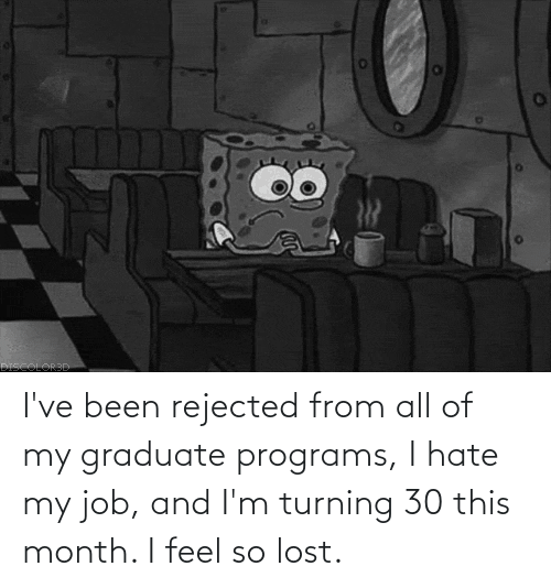 i hate my job: I've been rejected from all of my graduate programs, I hate my job, and I'm turning 30 this month. I feel so lost.
