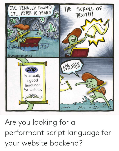 Finally Found: IVE FINALLY FOUND  IT... AFTER 15 YEARS  THE SCROLL  OF  TRUTH!  /t/ProgrammerHumor  Robotatertotcomics  Ir/ProgrammerHumo  php  NYEHHH  is actually  good  language  for webdev  r/ProgrammerHumor Are you looking for a performant script language for your website backend?