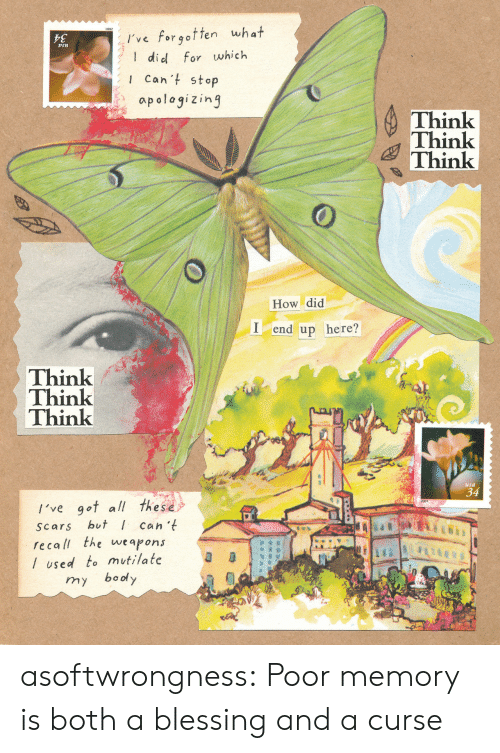 Tumblr, Blog, and How: I've forgotten what  did for which  sn  Can't stop  apologizing  Think  Think  Think  How did  Iend up here?  Think  Think  Think  usa  34  /'ve got all these  but can 't  recall the weapons  Scars  /used to mutilate  boody  my  GEP asoftwrongness:  Poor memory is both a blessing and a curse