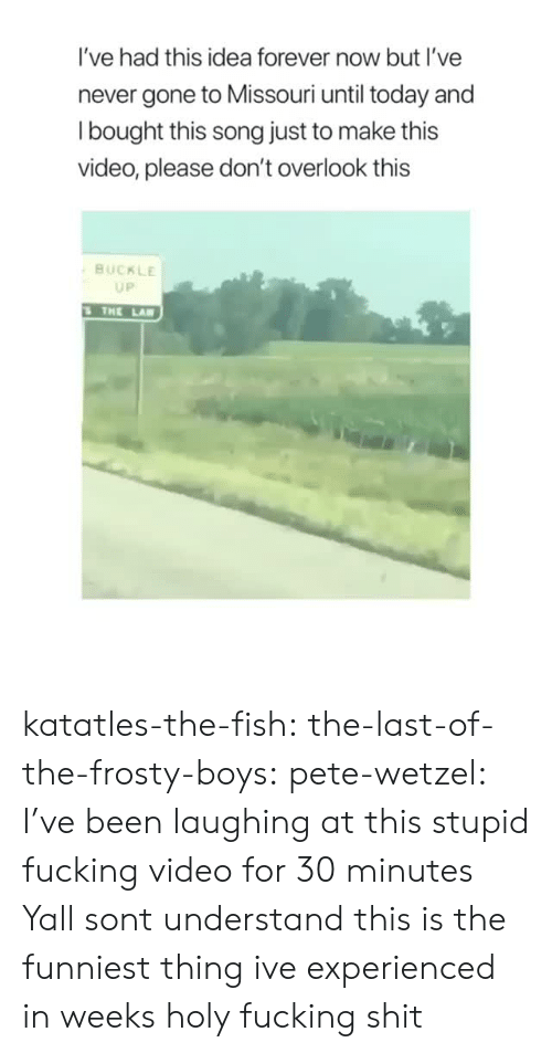 holy fucking shit: I've had this idea forever now but I've  never gone to Missouri until today and  l bought this song just to make this  video, please don't overlook this  BUCKLE  UP  THE LA katatles-the-fish:  the-last-of-the-frosty-boys:  pete-wetzel: I've been laughing at this stupid fucking video for 30 minutes Yall sont understand this is the funniest thing ive experienced in weeks   holy fucking shit