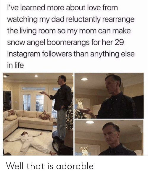 learned: I've learned more about love from  watching my dad reluctantly rearrange  the living room so my mom can make  snow angel boomerangs for her 29  Instagram followers than anything else  in life Well that is adorable