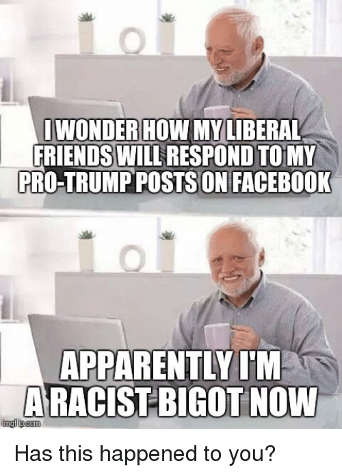 Apparently, Facebook, and Friends: IWONDER HOW MY LIBERAL  FRIENDS WILL  ON TO MY  PRO-TRUMP POSTSON FACEBOOK  APPARENTLY I'M  nngilipcom  BIGOT NOW Has this happened to you?
