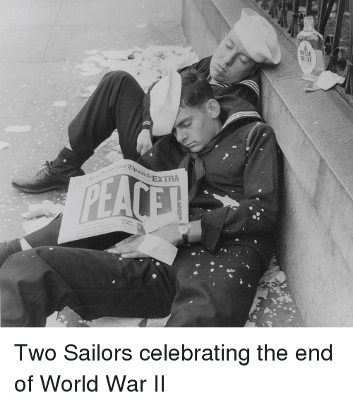 end of world: IXI  BEL.E  o Chronicle EX  EXTRA  Two Sailors celebrating the end of World War II