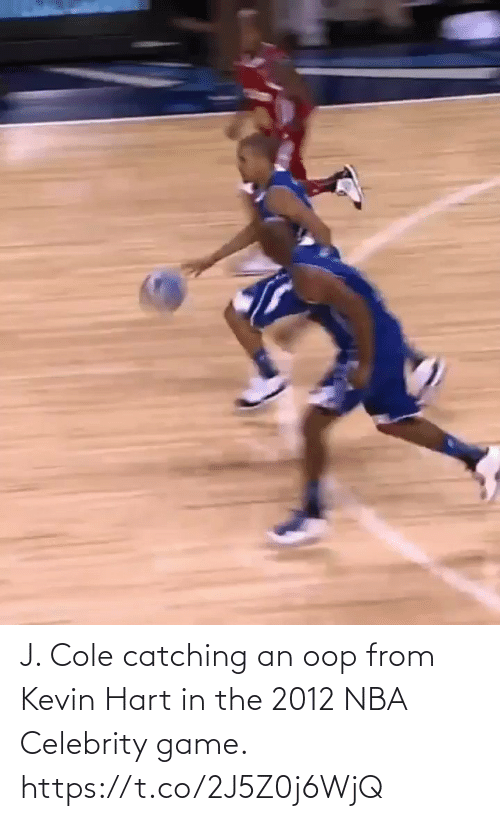 celebrity: J. Cole catching an oop from Kevin Hart in the 2012 NBA Celebrity game.   https://t.co/2J5Z0j6WjQ